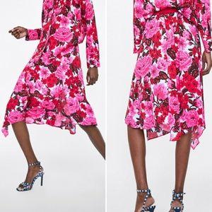 Zara Asymmetric Floral Print Midi Skirt NWT